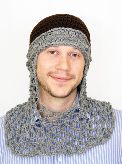 Knights Chainmail Coif with Brown Top