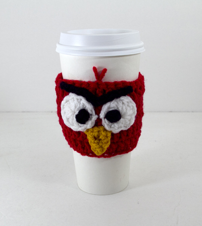 Red Mad Bird Cup Cozy - Click Image to Close