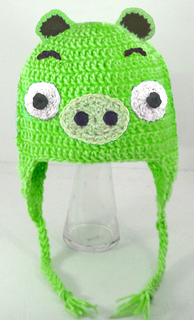 Green Pig Mad Birds Earflap Hat