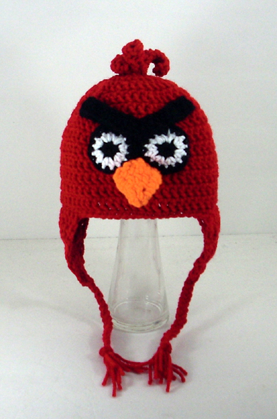 Red Mad Bird Earflap Hat