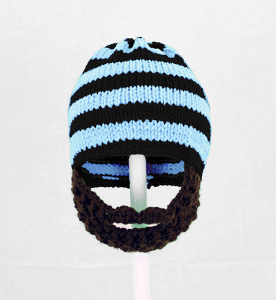 Light Blue/Black Striped Beard Hat