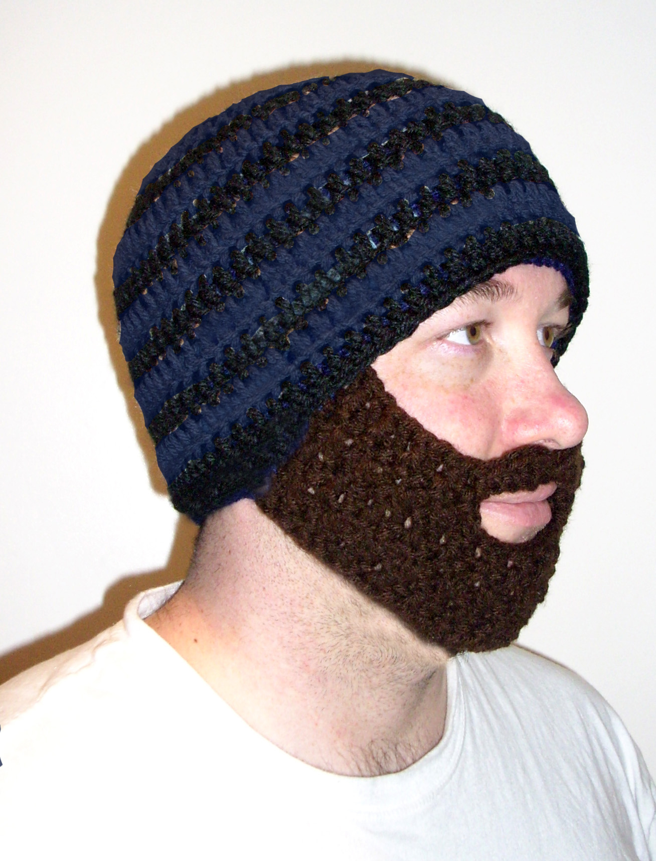 Blue/Royal Blue Striped Beard Hat