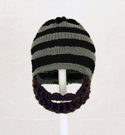 Black/Grey Striped Beard Hat