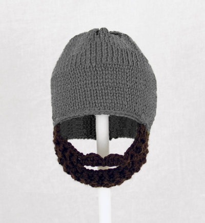 Gray Solid Beard Hat