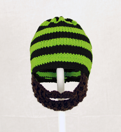 Black/Lime Green Beard Hat