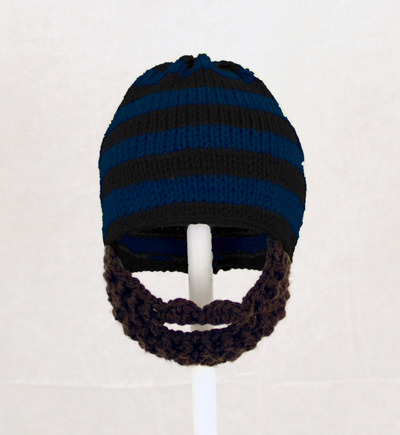 Black/Blue Striped Beard Hat