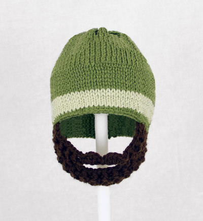 Olive Green One Stripe Beard Hat