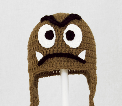 Goomba Earflap Hat from Super Mario Brothers