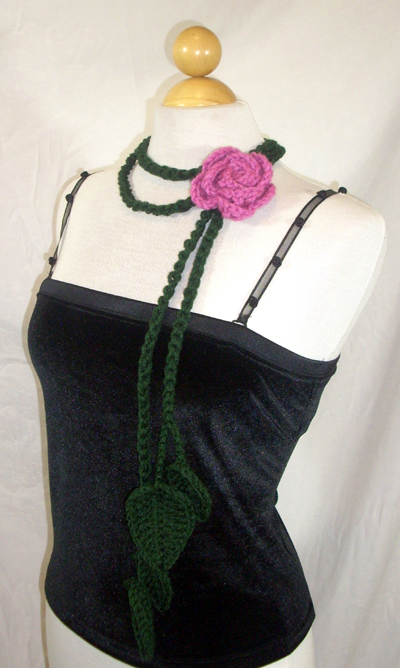 Green Vine Scarf / Lariat with Rose Pin