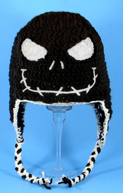 Angry Jack Skellington in Black Earflap Hat