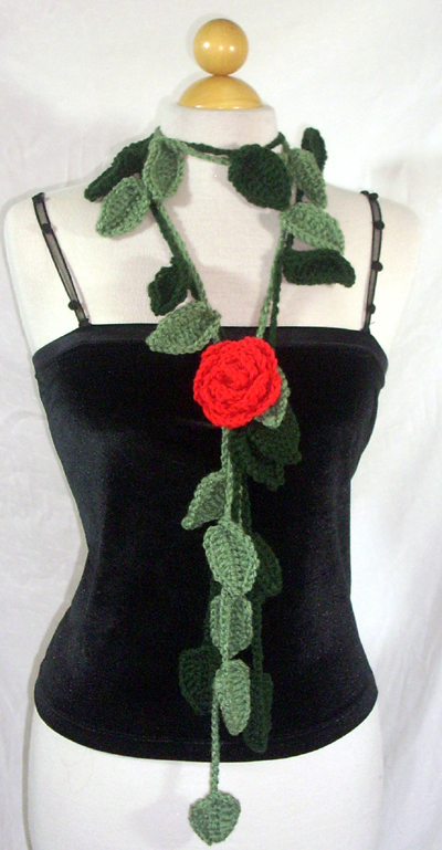 Leafy Two Scarf / Lariat with Rose Pin