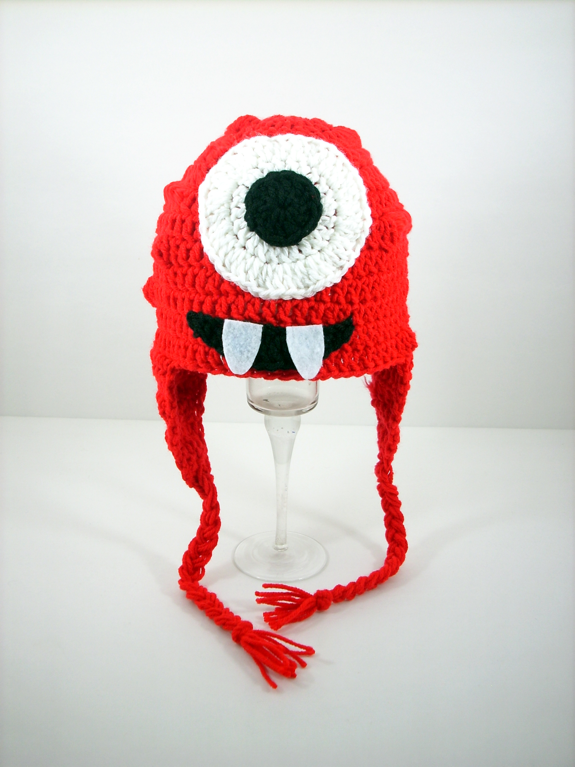 Red Cyclops Monster Earflap Hat