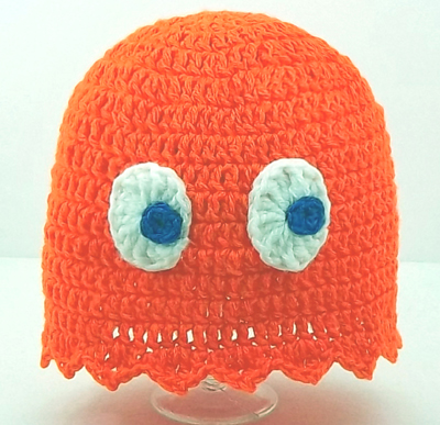 Orange Pacman Ghost Hat