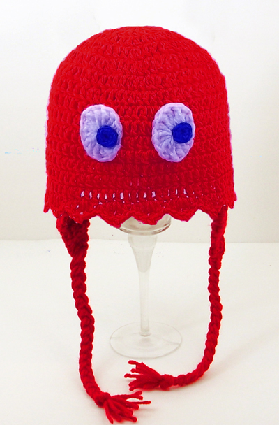 Red Pacman Ghost Earflap Hat