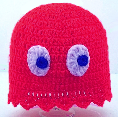 Red Pacman Ghost Hat