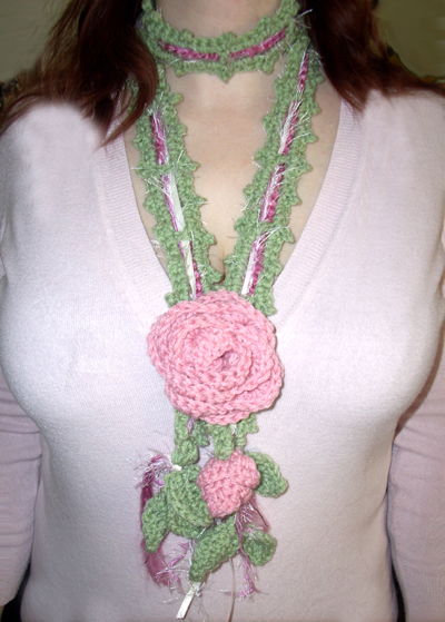 Romantic Rose Scarf in Sage