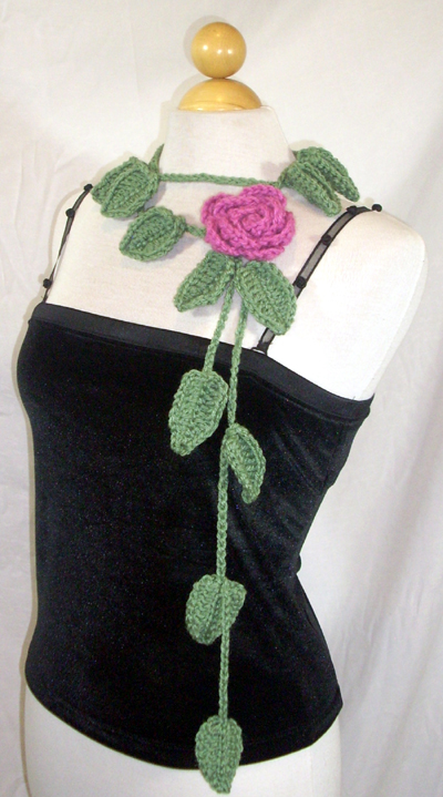 Leafy Sage Scarf / Lariat with Rose Pin