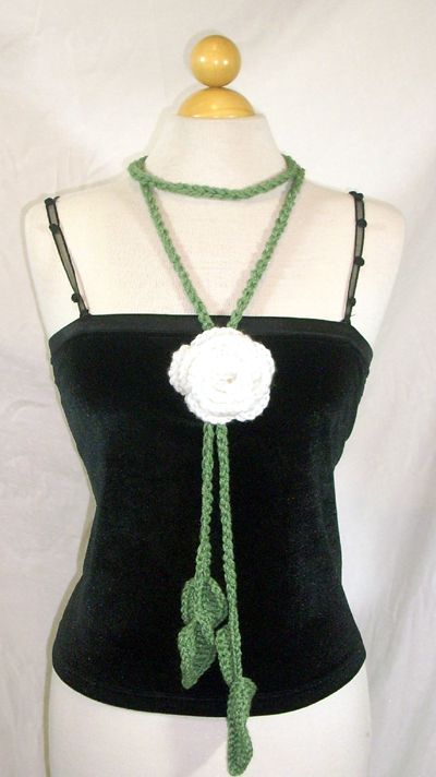 Sage Vine Scarf / Lariat with Rose Pin