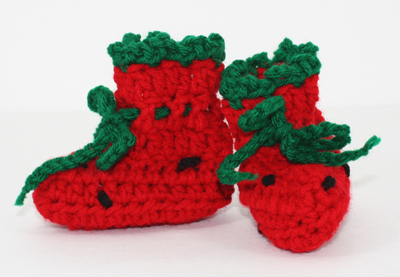Strawberry Booties for nb-12mos