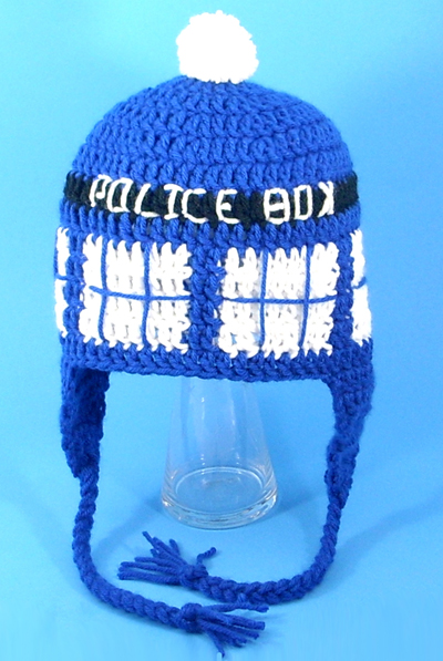 Tardis Earflap Hat for Fans of Doctor Who - Click Image to Close